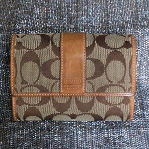 Coach tan logo trifold wallet